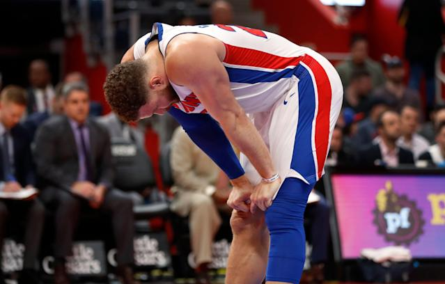 Blake Griffin will miss Game 2 with a knee issue. (AP Photo/Paul Sancya)