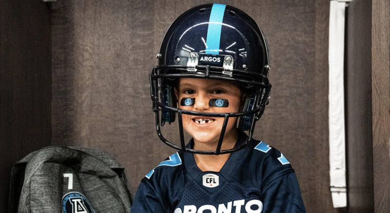 The signing of seven-year-old Darius Raso should give the Toronto Argos the boost that they so desperately need. (Twitter//@TorontoArgos)