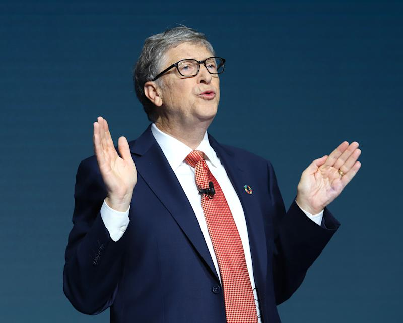 Bill Gates speaks at the Bill and Melinda Gates foundation's Goalkeepers event at Jazz at Lincoln Center in New York.