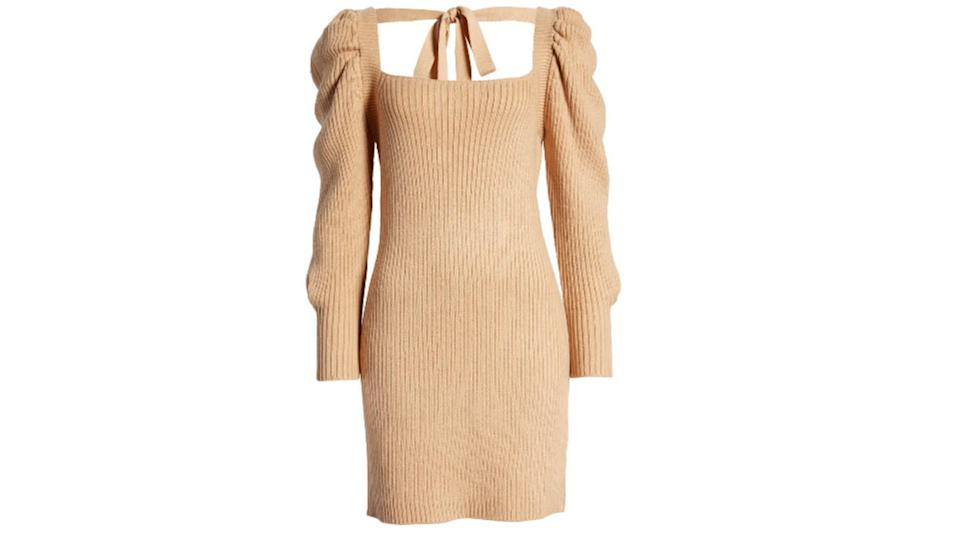 Wayf Leland Long Sleeve Tie Back Sheath Sweater Dress - $39 (originally $98)