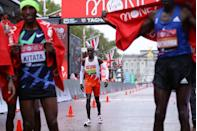 <p>World record-holder Eliud Kipchoge, the favorite to win heading into the marathon, finished in eighth place</p>