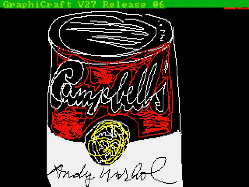 """This undated image provided by The Andy Warhol Museum in Pittsburgh, Pa., shows """"Campbell's,"""" a piece that is thought to be made by the late pop artist, Andy Warhol, on a computer in 1985. The museum says that the artist had a contract with Commodore International to produce images on one of its Amiga home computers. The old images recently were extracted from disks by members of Pittsburgh's Carnegie Mellon University Computer Club in collaboration with museum staff. (AP Photo/Andy Warhol, 1985, ©The Andy Warhol Foundation for the Visuals Arts, Inc.)"""