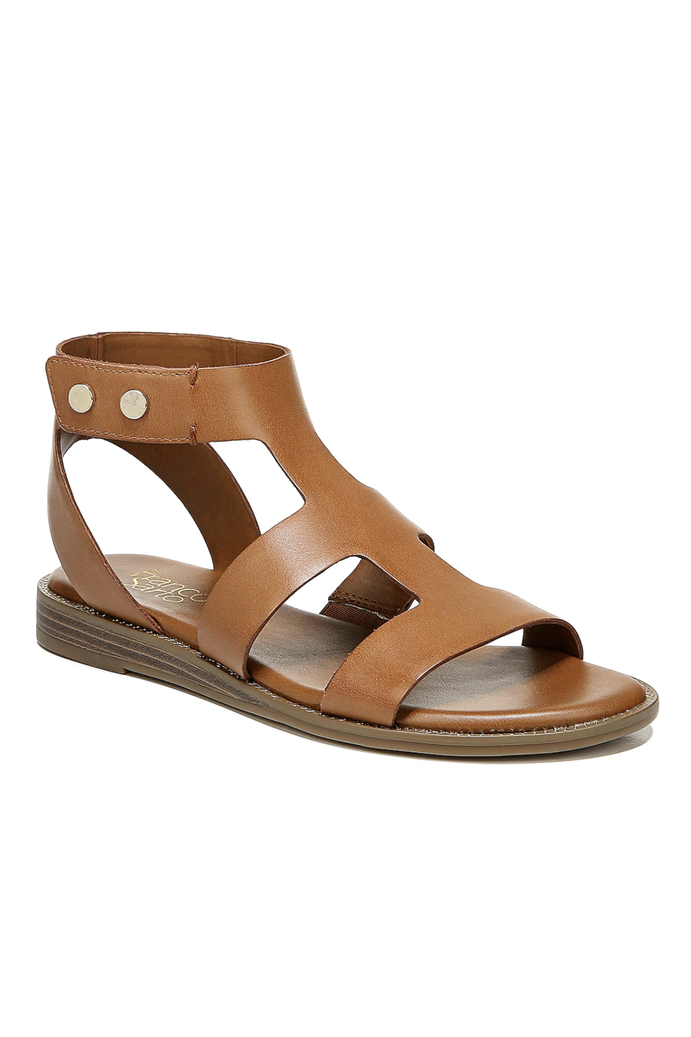 """<p><strong>Franco Sarto</strong></p><p>dsw.com</p><p><strong>$49.99</strong></p><p><a href=""""https://go.redirectingat.com?id=74968X1596630&url=https%3A%2F%2Fwww.dsw.com%2Fen%2Fus%2Fproduct%2Ffranco-sarto-genevia-gladiator-sandal%2F512291&sref=https%3A%2F%2Fwww.marieclaire.com%2Ffashion%2Fg27205502%2Fcomfortable-walking-sandals-women%2F"""" rel=""""nofollow noopener"""" target=""""_blank"""" data-ylk=""""slk:SHOP IT"""" class=""""link rapid-noclick-resp"""">SHOP IT</a></p><p>The caged style of this sandal by Franco Sarto will keep your foot from sliding around while you walk around throughout the day. The cushioned sole only ups the comfort factor. </p>"""