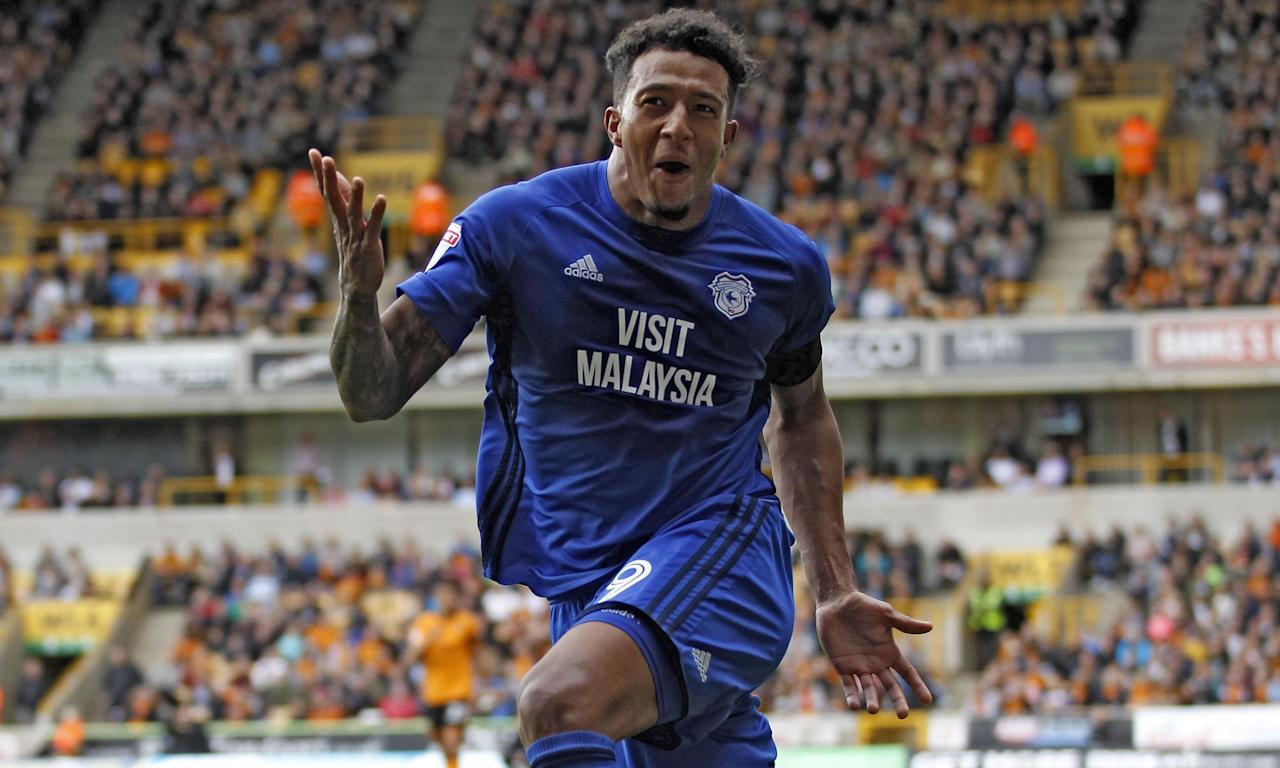 Nathaniel Mendez-Laing celebrates scoring Cardiff's winner at Wolves