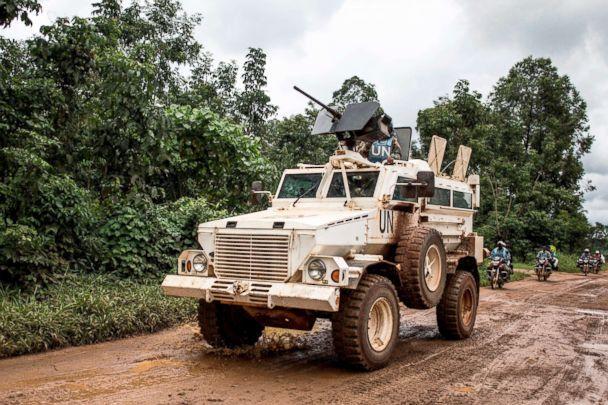 PHOTO: A military truck for the United Nations Organization and Stabilization Mission in the Democratic Republic of the Congo (MONUSCO) patrols the road linking Beni to Mangina, Aug. 23, 2018, in the Democratic Republic of the Congo. (John Wessels/AFP/Getty Images)