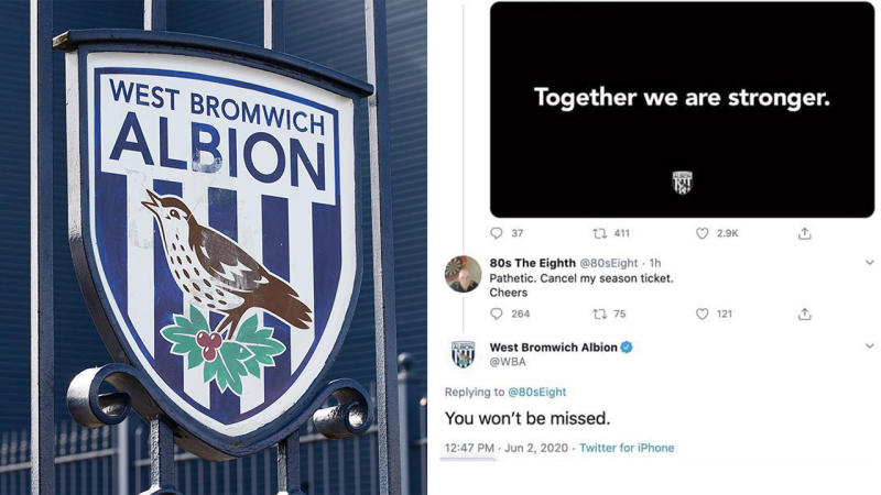 West Brom was applauded for savaging one of their fans on Twitter after backlash to their 'Black Out Tuesday' support. (Twiitter)