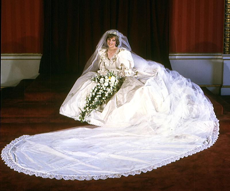 Diana, Princess of Wales, wed Prince Charles in a huge, custom dress by David and Elizabeth Emanuel in 1981. (Getty Images)