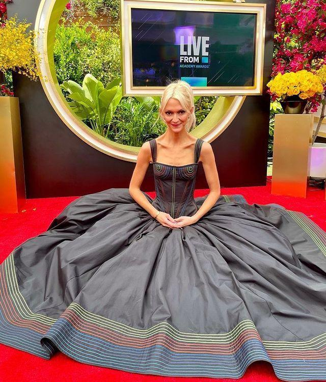"<p>The E! presenter and fashion expert wore a Christopher John Rogers gown with a rainbow-coloured trim at the bottom. </p><p><a href=""https://www.instagram.com/p/COGqVbAg0hZ/?utm_source=ig_web_copy_link"" rel=""nofollow noopener"" target=""_blank"" data-ylk=""slk:See the original post on Instagram"" class=""link rapid-noclick-resp"">See the original post on Instagram</a></p>"