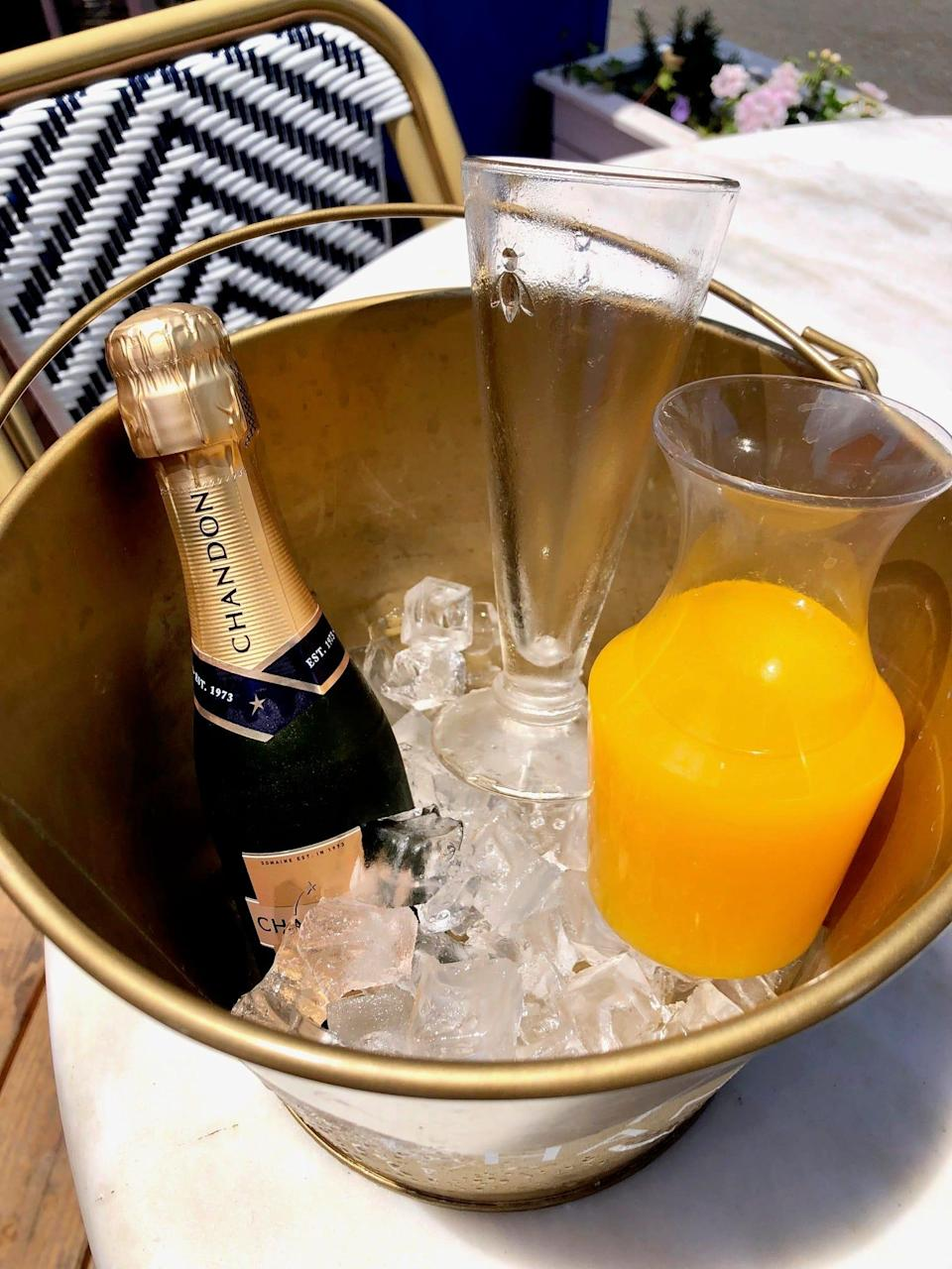 A mimosa bucket at Jeannine's