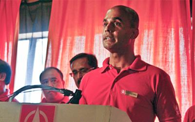 Dr Vincent Wijeysingha at the launch of the SDP Promise on Saturday. (Yahoo! Photo/Liyana Low)