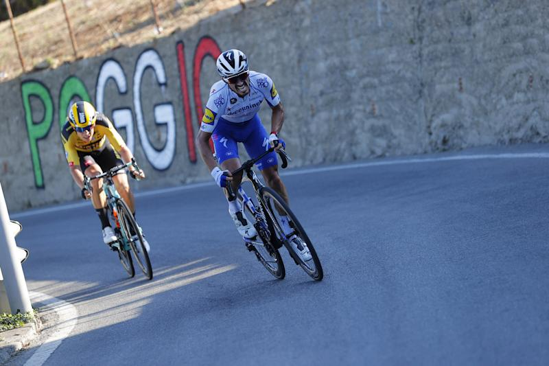 Alaphilippe surges clear on the Poggio