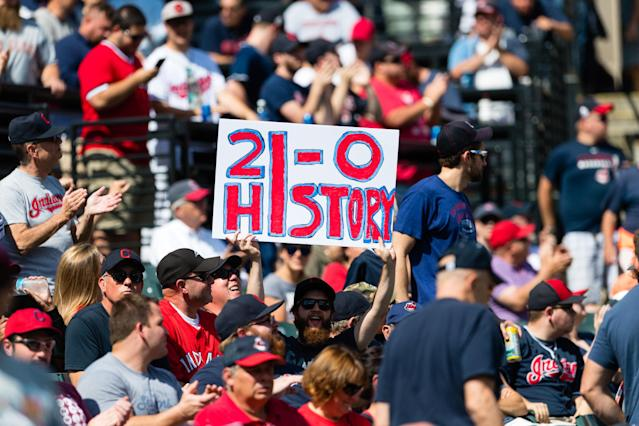 The Indians have won 21 straight games. (Photo by Jason Miller/Getty Images)