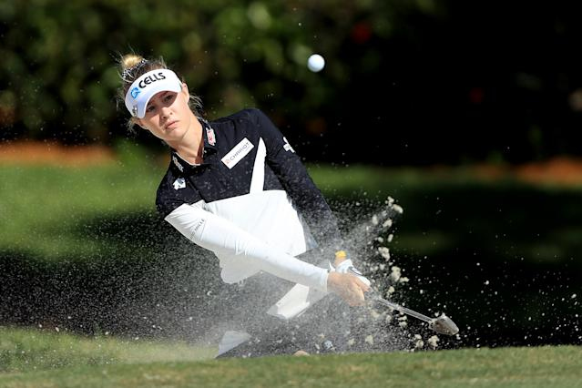 "<h1 class=""title"">nelly korda CME Group Tour Championship - Round One</h1> <div class=""caption""> NAPLES, FLORIDA - NOVEMBER 21: Nelly Korda of the United States plays a shot from a bunker on the sixth hole during the first round of the CME Group Tour Championship at Tiburon Golf Club on November 21, 2019 in Naples, Florida. (Photo by Sam Greenwood/Getty Images) </div> <cite class=""credit"">Sam Greenwood</cite>"