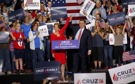 Republican U.S. presidential candidate Ted Cruz raises the arm of his running mate Carly Fiorina at a campaign rally where he announced Fiorina as his choice for Vice Presidential nominee in Indianapolis, Indiana, United States April 27, 2016.  REUTERS/Aaron P. Bernstein