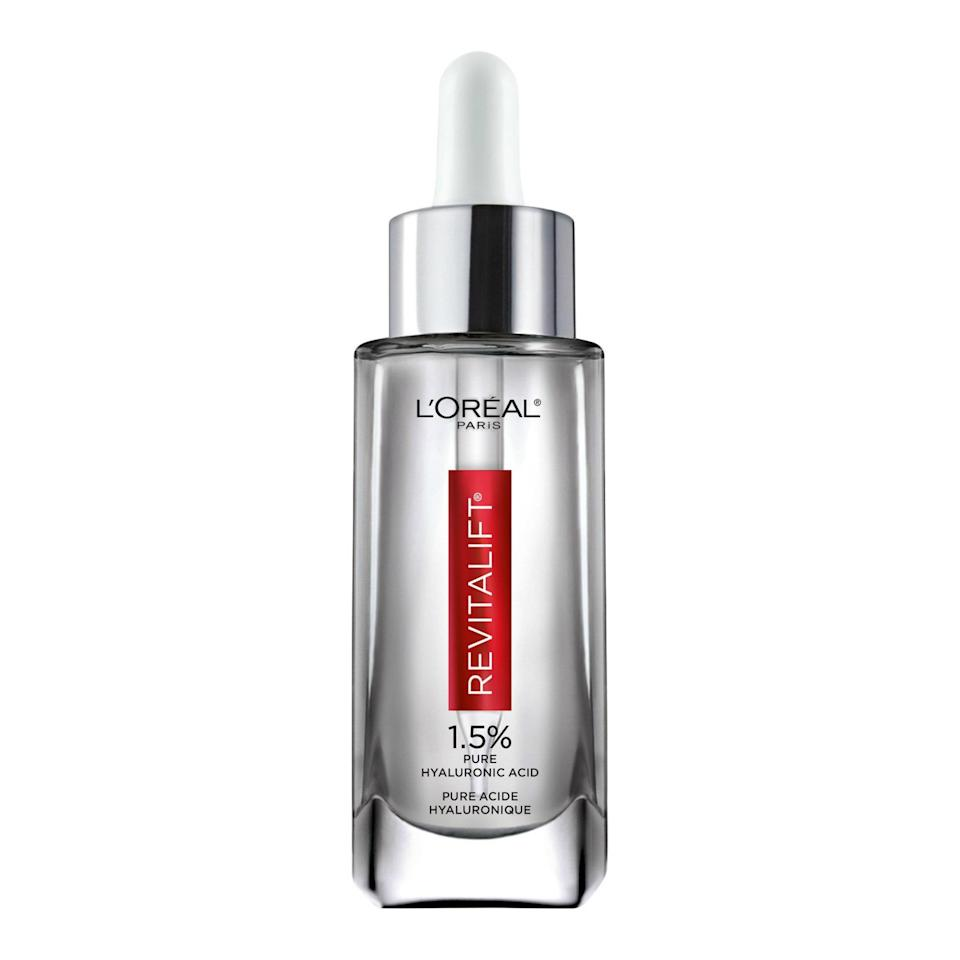 """<a href=""""https://www.allure.com/story/loreal-revitalift-derm-intensive-pure-hyaluronic-acid-serum-sold-every-minute?mbid=synd_yahoo_rss"""" rel=""""nofollow noopener"""" target=""""_blank"""" data-ylk=""""slk:L'Oréal Paris's Revitalift Derm Intensives 1.5% Pure Hyaluronic Acid Serum"""" class=""""link rapid-noclick-resp"""">L'Oréal Paris's Revitalift Derm Intensives 1.5% Pure Hyaluronic Acid Serum</a> has been known to hold the top spot among mass-market serums, and according to Nielsen, one bottle is sold every <em>minute</em>. Consider us impressed."""