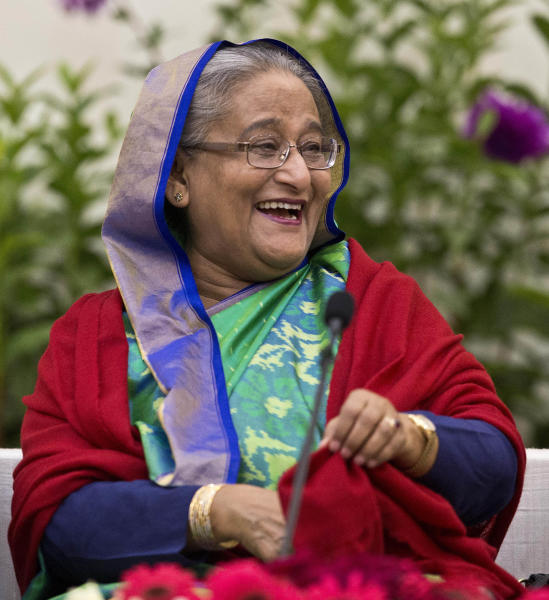 Bangladeshi Prime Minister Sheikh Hasina interacts with journalists in Dhaka Bangladesh Monday Dec. 31 2018. Bangladesh's ruling alliance won virtually every parliamentary seat in the country's general election according to official results