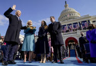 Joe Biden is sworn in as the 46th president of the United States by Chief Justice John Roberts as Jill Biden holds the Bible during the 59th Presidential Inauguration at the U.S. Capitol in Washington, Wednesday, Jan. 20, 2021, as their children Ashley and Hunter watch.(AP Photo/Andrew Harnik, Pool)