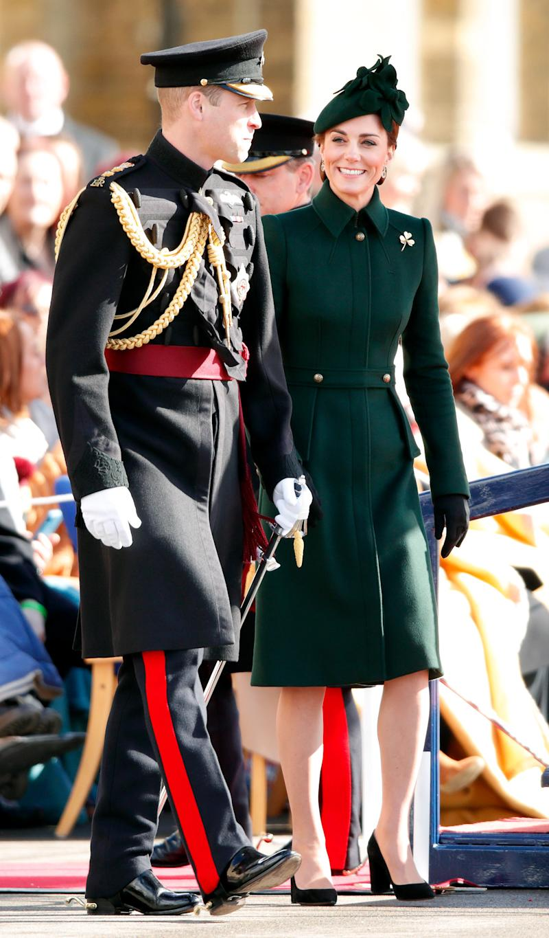 Catherine, Duchess of Cambridge and Prince William, Duke of Cambridge (Colonel of the Irish Guards) attend the 1st Battalion Irish Guards St Patrick's Day Parade at Cavalry Barracks on March 17 in Hounslow, England. (Max Mumby/Indigo via Getty Images)