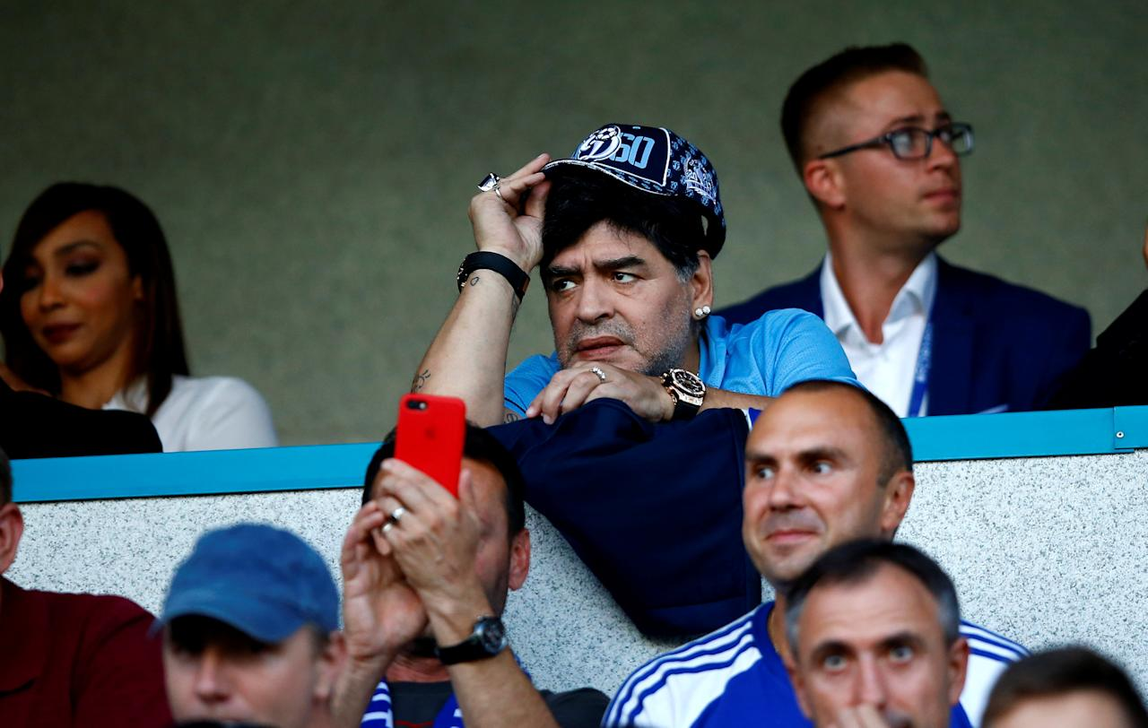 Diego Maradona, Argentina's soccer legend and newly appointed chairman of the board of Dynamo Brest football club, reacts during the match between Dinamo-Brest and Shakhtyor Soligorsk in Brest, Belarus July 16, 2018. REUTERS/Vasily Fedosenko