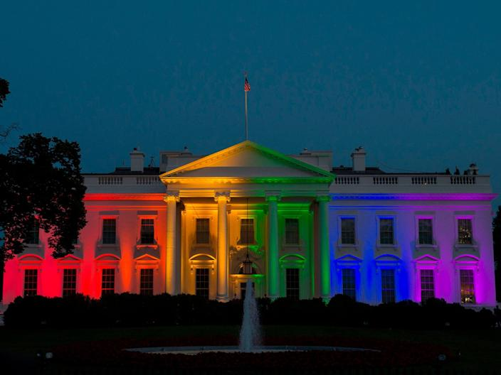 <p>The White House is blanketed in rainbow colours symbolising LGBT+ pride in Washington, DC on 26 June 2015</p> ((AFP via Getty Images))