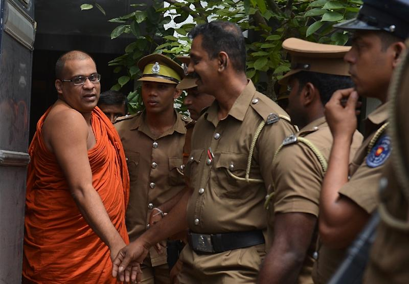 Firebrand Buddhist monk Galagodaatte Gnanasara, has been serving concurrent jail sentences extending up to six years, and was sentenced to six months in June, 2018, when he was pictured escorted by guards after the sentencing