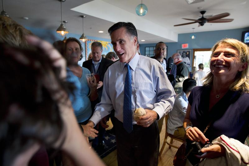 Republican presidential candidate, former Massachusetts Gov. Mitt Romney makes a stop at Millie's before attending a fundraising event on Saturday, Aug. 18, 2012 in Nantucket, Mass. (AP Photo/Evan Vucci)