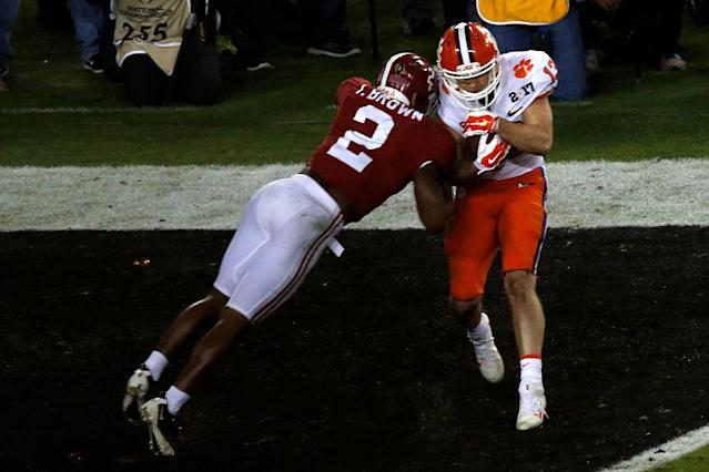 Clemson WR Hunter Refrow catches the game-winning touchdown in the College Football Playoff National Championship against Alabama. (Getty)