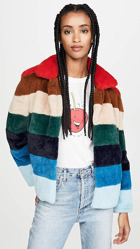 """<p>My coat collection is insane, but I can always find room for more. This colorful <a href=""""https://www.popsugar.com/buy/BLANKNYC-Faux-Fur-Jacket-519430?p_name=BLANKNYC%20Faux%20Fur%20Jacket&retailer=amazon.com&pid=519430&price=94&evar1=fab%3Aus&evar9=46913562&evar98=https%3A%2F%2Fwww.popsugar.com%2Ffashion%2Fphoto-gallery%2F46913562%2Fimage%2F46913825%2FBLANKNYC-Faux-Fur-Jacket&list1=shopping%2Camazon%2Ceditors%20pick%2Cwinter%20fashion%2Choliday%20fashion&prop13=mobile&pdata=1"""" rel=""""nofollow"""" data-shoppable-link=""""1"""" target=""""_blank"""" class=""""ga-track"""" data-ga-category=""""Related"""" data-ga-label=""""https://www.amazon.com/BLANKNYC-Womens-Jacket-Outerwear-Rainbow/dp/B07PNCRZBR?s=shopbop&amp;ref_=sb_ts&amp;th=1&amp;psc=1"""" data-ga-action=""""In-Line Links"""">BLANKNYC Faux Fur Jacket</a> ($94) is a great statement piece and it's extra cozy.</p>"""