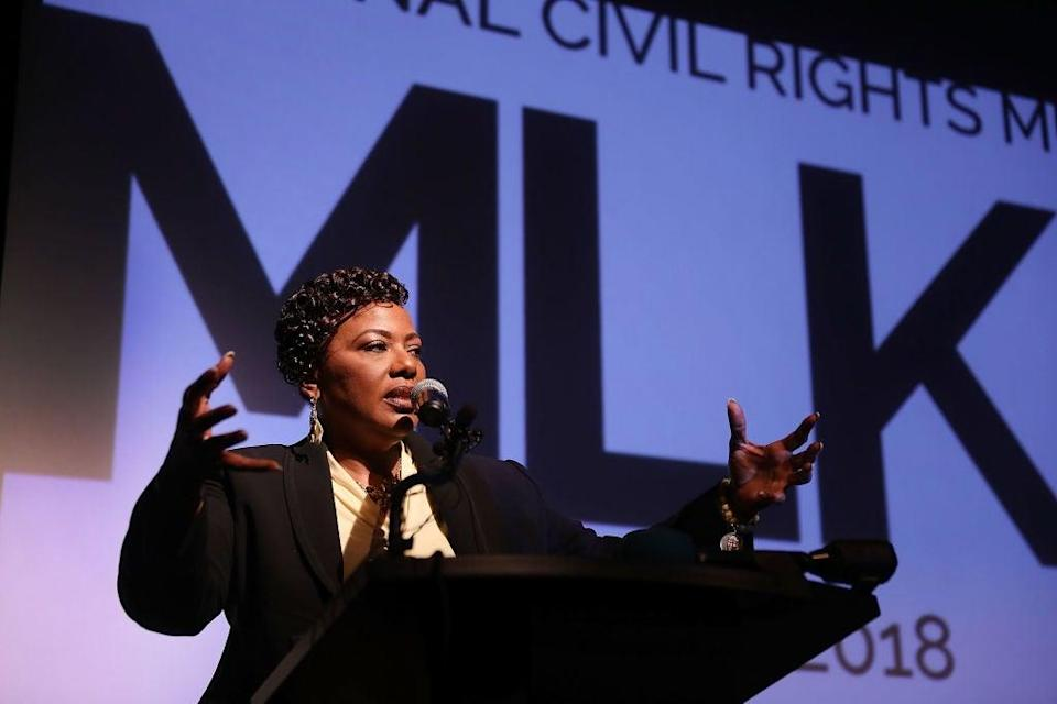 Rev. Dr. Bernice King, daughter of Dr. Martin Luther King, Jr. speaks as she visits the National Civil Rights Museum (Getty Images)