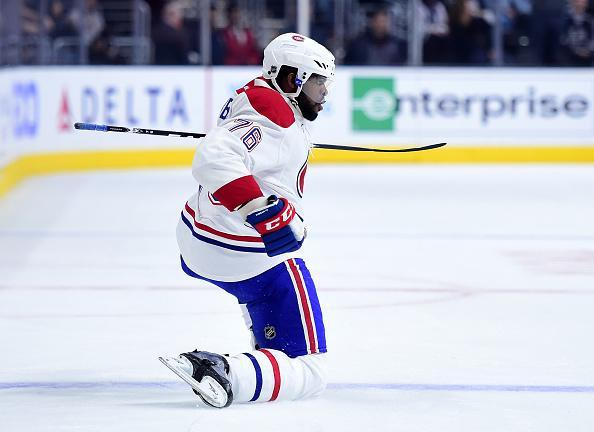LOS ANGELES, CA - MARCH 03: P.K. Subban #76 of the Montreal Canadiens celebrates his goal against the Los Angeles Kings to trail 2-1 during the first period at Staples Center on March 3, 2016 in Los Angeles, California. (Photo by Harry How/Getty Images)
