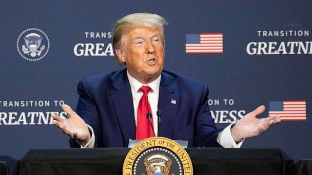 PHOTO: President Donald Trump speaks during a roundtable discussion about 'Transition to Greatness: Restoring, Rebuilding, and Renewing,' at Gateway Church Dallas campus, June 11, 2020, in Dallas. (Alex Brandon/AP)