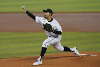 Miami Marlins starting pitcher Pablo Lopez (49) throws a pitch during the first inning of a baseball game against the San Francisco Giants, Sunday, April 18, 2021, in Miami. (AP Photo/Marta Lavandier)