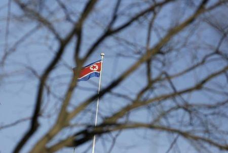 A North Korean flag is seen on the top of its embassy in Beijing