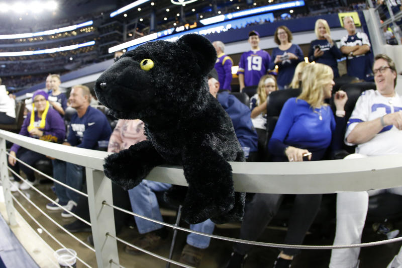 CORRECTS TO DELETE THE ADJECTIVE, OVERSIZED, TO DESCRIBE THE STAFFED ANIMAL WHICH IS 8 INCHES TALL - Fans place a toy black cat on the rail by end zone seating at an NFL football game between the Minnesota Vikings and Dallas Cowboys in Arlington, Texas, Sunday, Nov. 10, 2019. A black cat ran onto the field last week in a game between the Cowboys and the New York Giants. (AP Photo/Ron Jenkins)