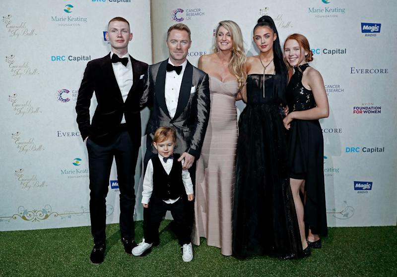 Jack Keating, Cooper Keating, Ronan Keating, Storm Keating, Missy Keating and Ali Keating attend the 13th annual Emeralds & Ivy Ball in partnership with Cancer Research UK and The Marie Keating Foundation at Old Billingsgate on December 14, 2019 in London, England. (Photo by David M. Benett/Dave Benett/Getty Images)