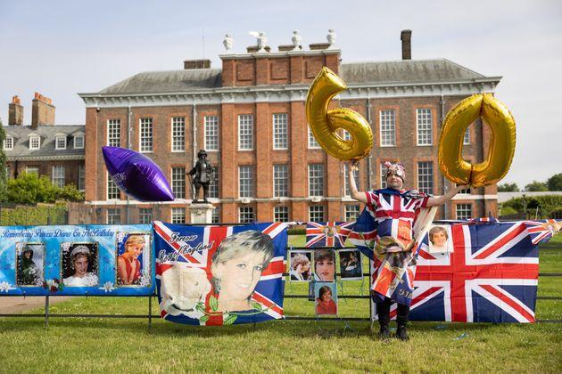 A Royal fan at Kensington Palace to mark what would have been Diana's 60th birthday (Photo: Leon Neal via Getty Images)