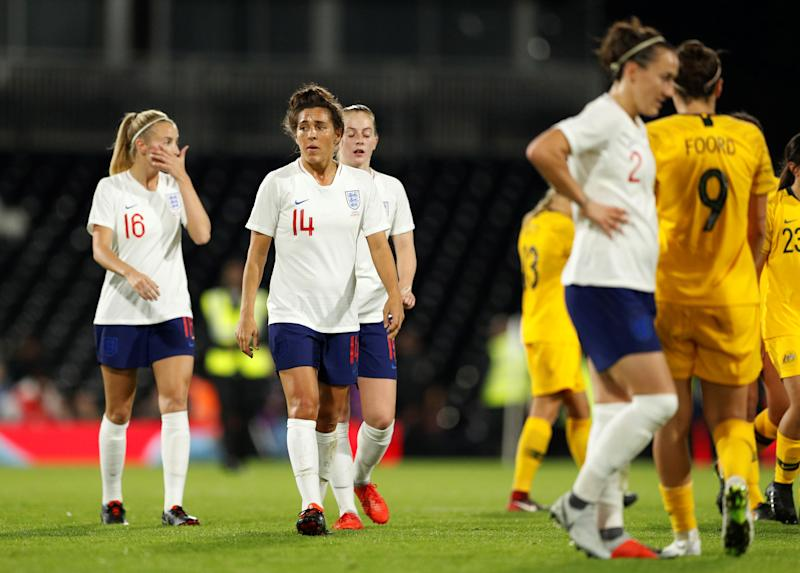 England's Fara Williams with team mates after the final whistle against Australia in 2018 Action Images via Reuters/John Sibley
