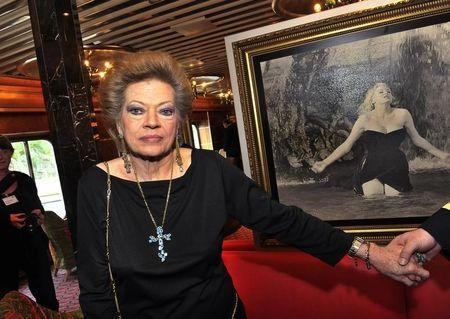 Actress Anita Ekberg is pictured during a news conference aboard the Italian cruise ship Costa Atlantica at a quay in Stockholm, June 21, 2010. REUTERS/Scanpix/Jonas Ekstroemer