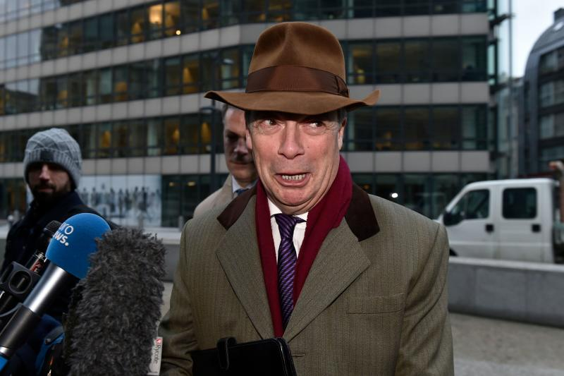 Former leader of UK Independence Party (UKIP) Nigel Farage speaks to journalists as he arrives ahead of a meeting with European Commission member in charge of Brexit negotiations with Britain at the EU headquarters in Brussels on January 8, 2018. / AFP PHOTO / JOHN THYS (Photo credit should read JOHN THYS/AFP/Getty Images)