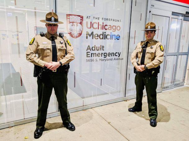 PHOTO: Illinois State Police posted photos on Facebook of two ISP Troopers who helped deliver a heart to University of Chicago Medicine's Hyde Park campus. (Illinois State Police)