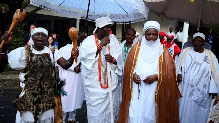 Two of Nigeria's most revered traditional leaders, the Ooni of Ife (centre left) and the Sultan of Sokoto (centre right) at a state function
