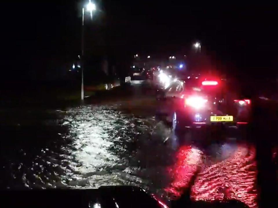 A still from a video that an Aberdeenshire resident uploaded to social media shows the extent of flooding in Ellon alone (Twitter/Shotgun_Paul)