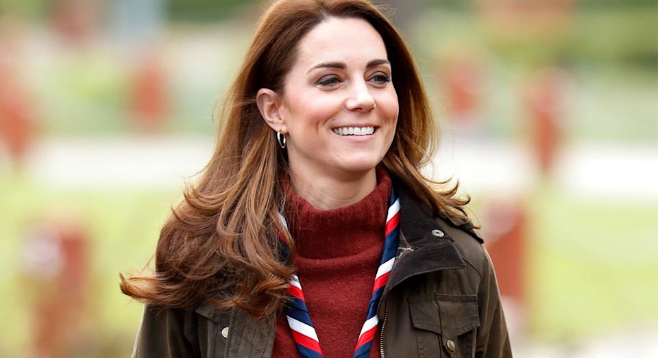 The Duchess of Cambridge is also a fan of Barbour, and previously wore a wax design when she visited the Scouts' headquarters in 2019.  (Getty Images)