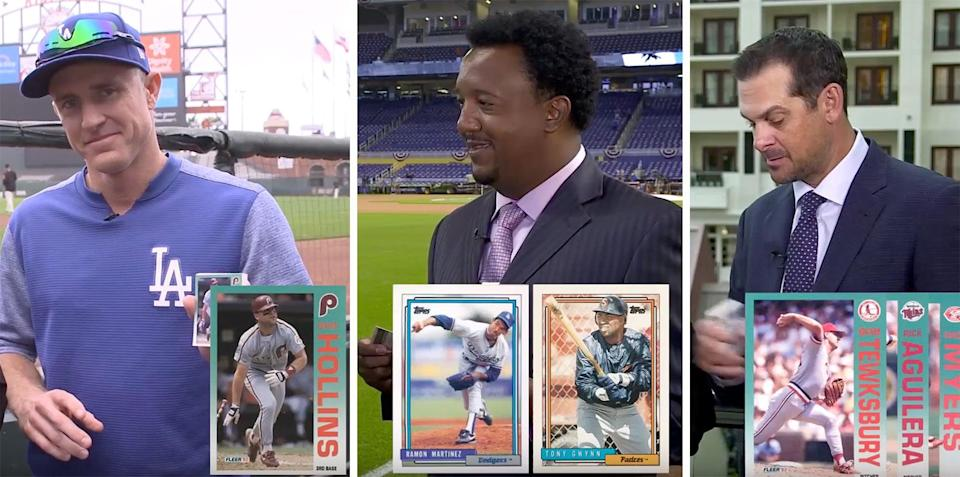 """Chase Utley, Pedro Martinez and Aaron Boone were among the best traders on """"25-Year-Old Baseball Cards"""" this year. (Yahoo Sports)"""