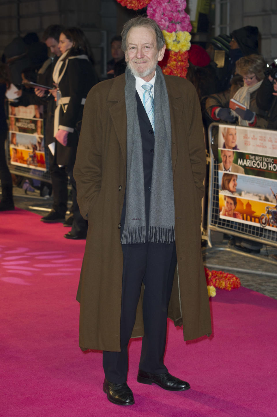 Ronald Pickup arrives for 'The Best Exotic Marigold Hotel' world premiere at a central London venue, Tuesday, Feb. 7, 2012.