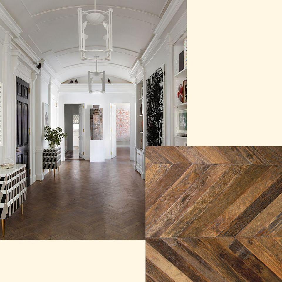 "<p>A custom herringbone floor by Stephen Gamble takes center stage in a <a href=""https://www.elledecor.com/design-decorate/house-interiors/a13120996/new-york-private-art-collection/"" rel=""nofollow noopener"" target=""_blank"" data-ylk=""slk:New York apartment"" class=""link rapid-noclick-resp"">New York apartment</a> designed by Alex Papachristidis. To get the look, try Chevron Reclaimed French Oak from <a href=""http://xsurfaces.com/#/"" rel=""nofollow noopener"" target=""_blank"" data-ylk=""slk:xsurfaces.com"" class=""link rapid-noclick-resp"">xsurfaces.com</a>.</p>"