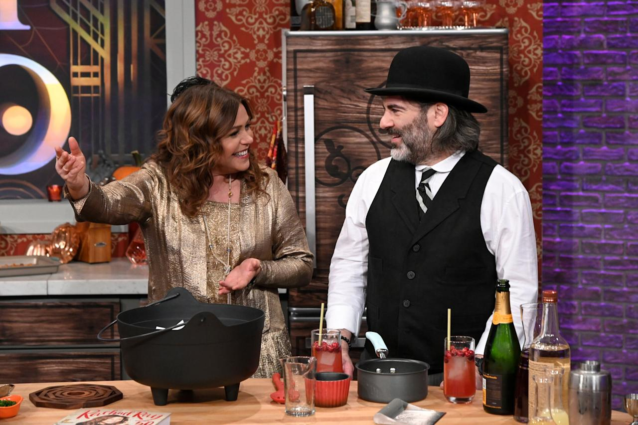 The host turned back the clock on her talk show, dressing up with her husband, John Cusimano, for a spooky edition of her talk show