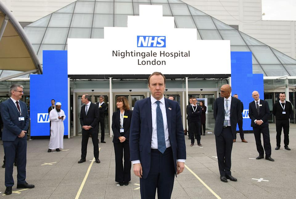 Health secretary Matt Hancock and NHS staff at the opening of the NHS Nightingale hospital in London (Photo: POOL New / Reuters)
