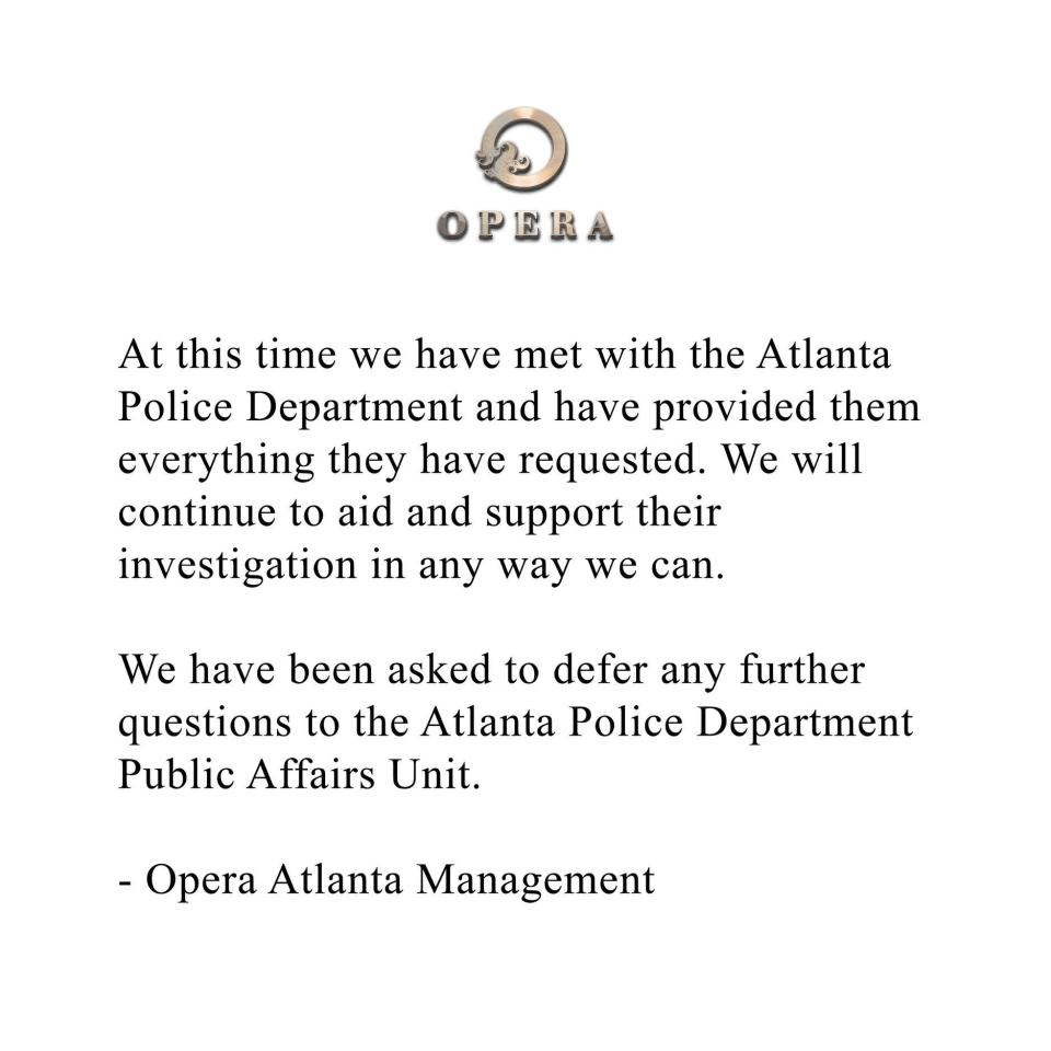 """Opera Atlanta released this statement on Facebook Monday after a female patron was allegedly sexually assaulted on the dance floor. (Photo: Opera Atlanta via Facebook)<span>""""</span>"""