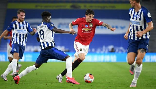 Victor Lindelof (right) was full of praise for Bruno Fernandes (Andy Rain/NMC Pool/PA).